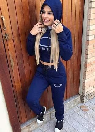 Conjunto inverno feminino metalassê azul