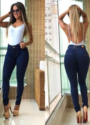 Calça jeans modeladora amaciada skinny cintura alta