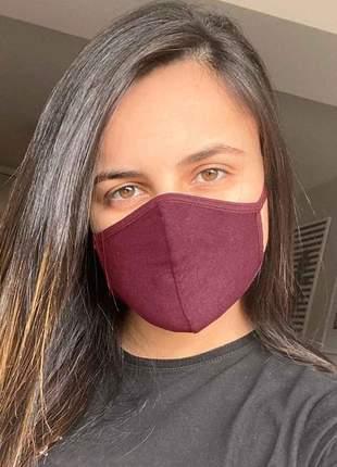 Kit 3 máscaras de tecido - proteção dupla - vinho