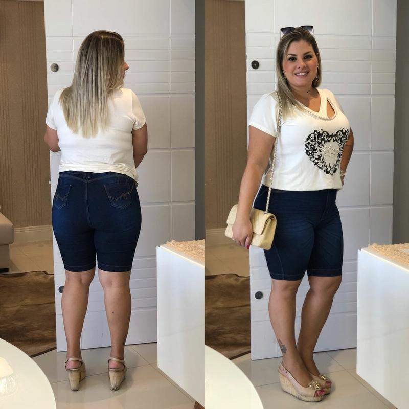 Destmoda / Bermuda jeans shorts tamanhos grandes plus size