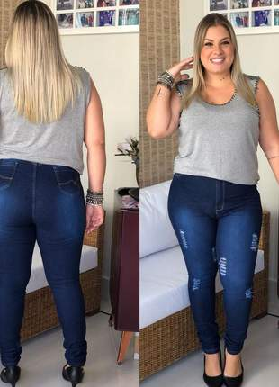 Calça jeans destroyed plus size super skinny