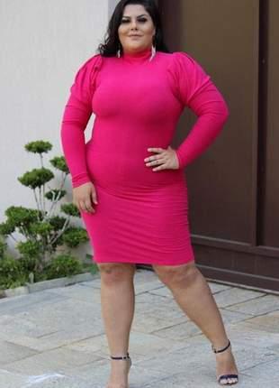 Vestido curto feminino canelado gola alta plus size