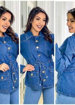 Jaqueta jeans parka feminina botão frontal manga longa