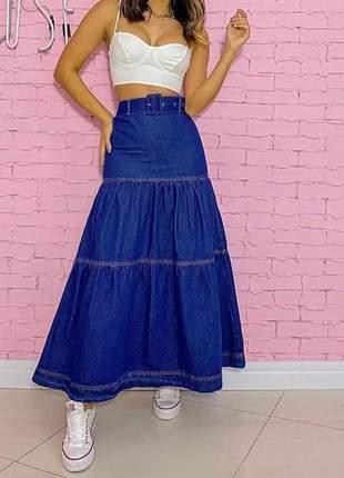 Saia jeans plissada com cinto feminina longa