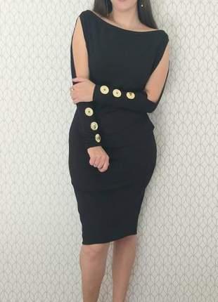 Vestido midi canelado botões