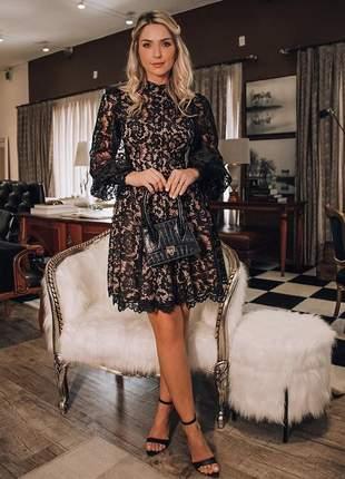 Vestido midi renda preto