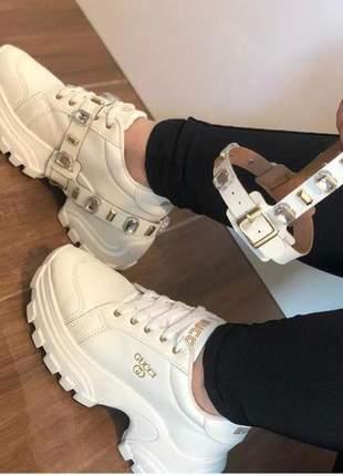 Tênis feminino plataforma sneakers pedraria  branco