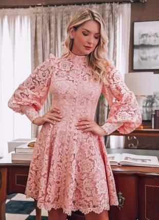 Vestido midi casamento renda rose