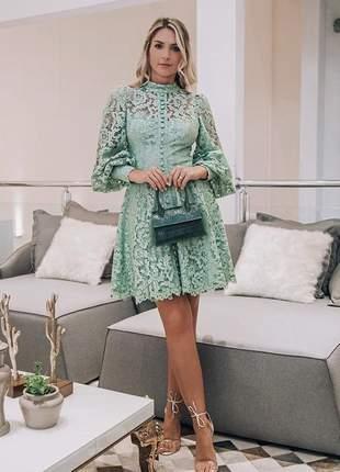 Vestido midi festa renda verde