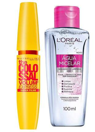 Kit l'oreal água micelar 100ml + máscara colossal maybelline
