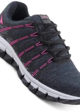 Tênis feminino caminhada esportivo academia corridas ou treinos preto/pink