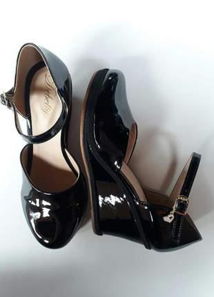Espadrille feminina anabela preto verniz salto médio 7cm