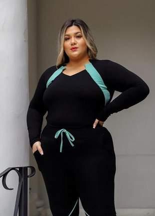 Conjunto viés moletinho moda plus size