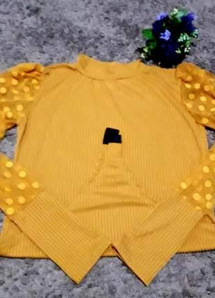 Body canelado com mangas de tule feminina bufante gola alta amarelo
