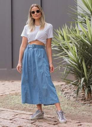 Saia midi jeans rodadinha