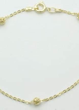Pulseira fio cadeado globos vazados ouro rommanel