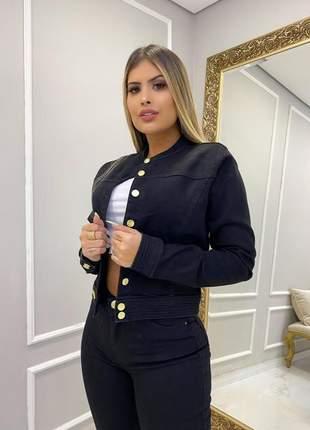 Jaqueta jeans feminina gola padre preta com lycra jaquetinha