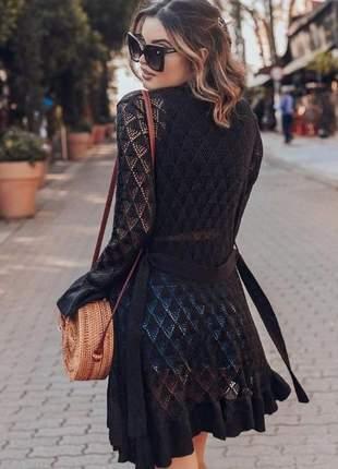 Saida de praia kimono cor preta