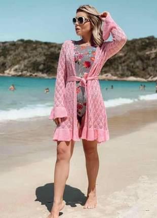 Saída de praia kimono cor rosa