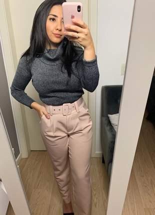 Calça social feminina alfaiataria com cinto encapado forrado rosa claro rosinha