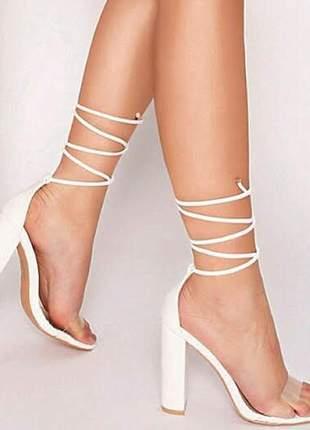 Sandálias femininas de amarrar  moda transparência