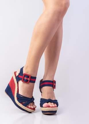 Sandália anabela  camurça azul