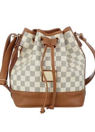 Bolsa feminina saco tiracolo xadrez marfin