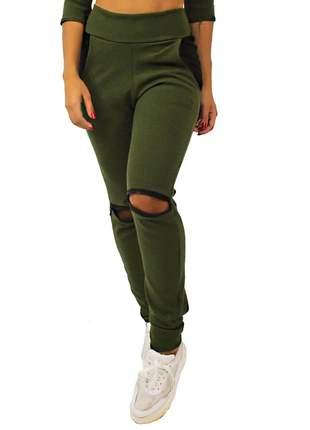 Calça moda feminina detalhe ziper joelho e bolso verde pronta entrega
