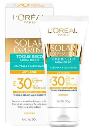 Protetor solar facial anti-acne toque seco expertise fps 30 l'oreal 50g