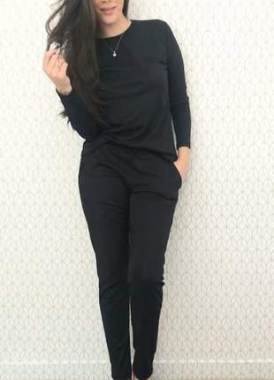 Conjunto canelado calça e blusa manga longa dispon p ao exgg