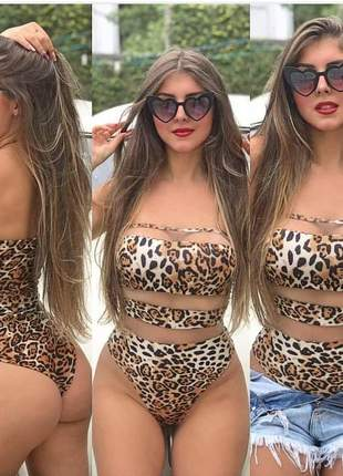 Body tule tamara que caia animal print