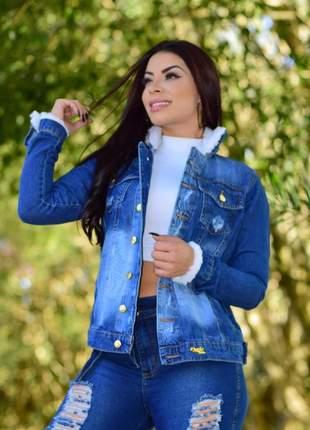 Jaqueta jeans com pelúcia botões outono inverno