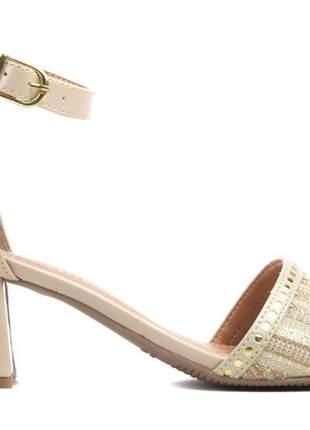 Sandália feminina (ref: 6105) sandália feminina, nude e ouro light, luxo confort