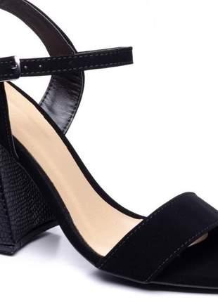 Sandália feminina  camurça na cor preto