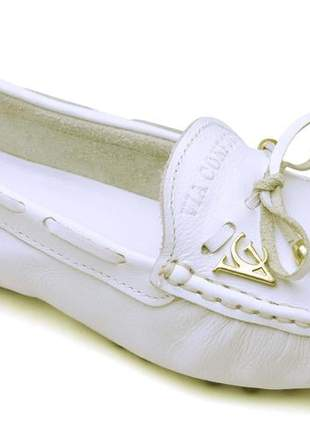 Sapatilha mocassim via confort drive feminina couro branco