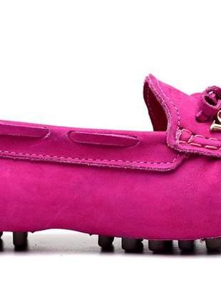Sapatilha mocassim drive feminina via confort couro rosa