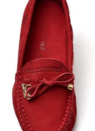 Sapatilha mocassim drive feminina via confort couro vermelho