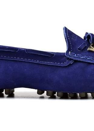 Sapatilha mocassim drive feminina via confort couro azul escuro