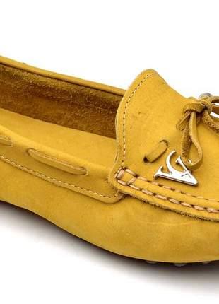 Sapatilha mocassim drive feminina via confort couro amarelo