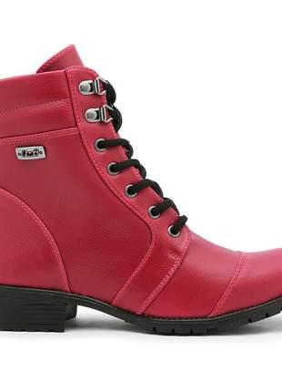 Bota botinha coturno feminino estilo outono/inverno cano médio top vermelha