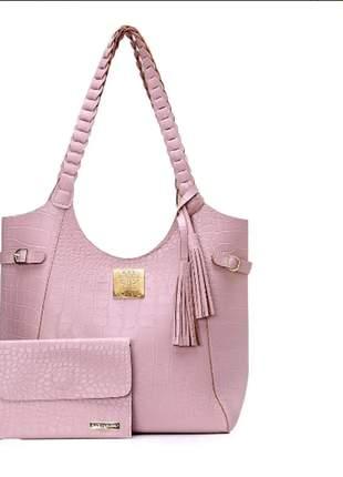 Kit bolsa de ombro alça trançada + carteira rosa croco exclusiva alice monteiro