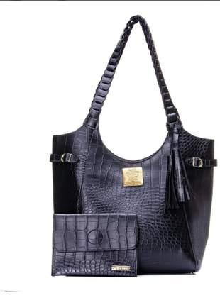 Kit bolsa de ombro alça trançada + carteira croco preta exclusiva alice monteiro