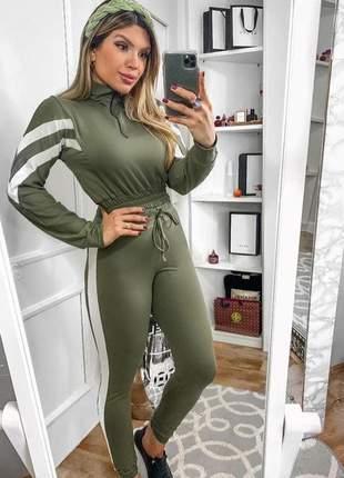 Conjunto feminino calça e blusa com zíper moletinho verde moda 2020