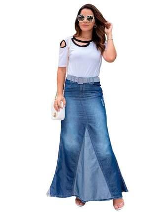 Saia jeans longa feminina evangelica moda roupas evangelicas