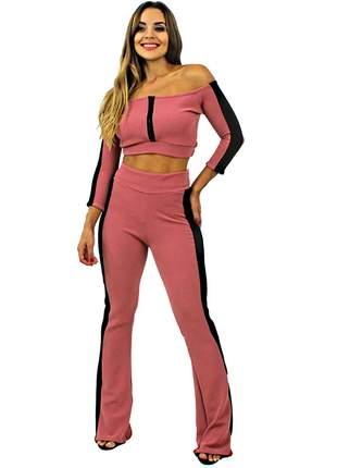 Conjunto calça feminina cintura alta e cropped manga longa entrega imediata