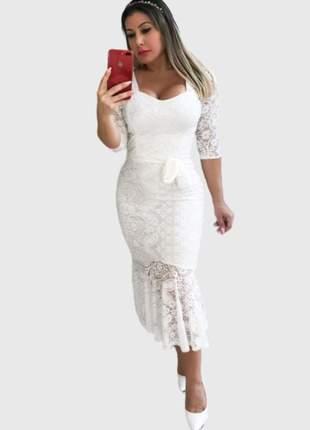 Vestido boutelle midi de renda festa casamento de noiva casual branco