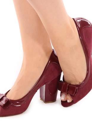 Sapato sandália feminina peep toe salto grosso bloco marsala
