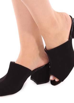 Sapato tamanco salto grosso nobuck preto confortável com regulagem de elástico