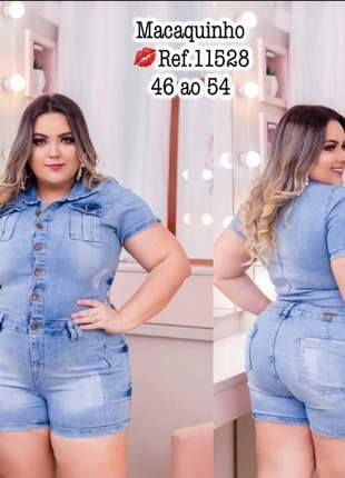Macaquinho jeans manga curta