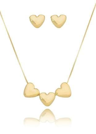 Conjunto semi joia colar e brinco 3 corações delicados banhado ouro con005